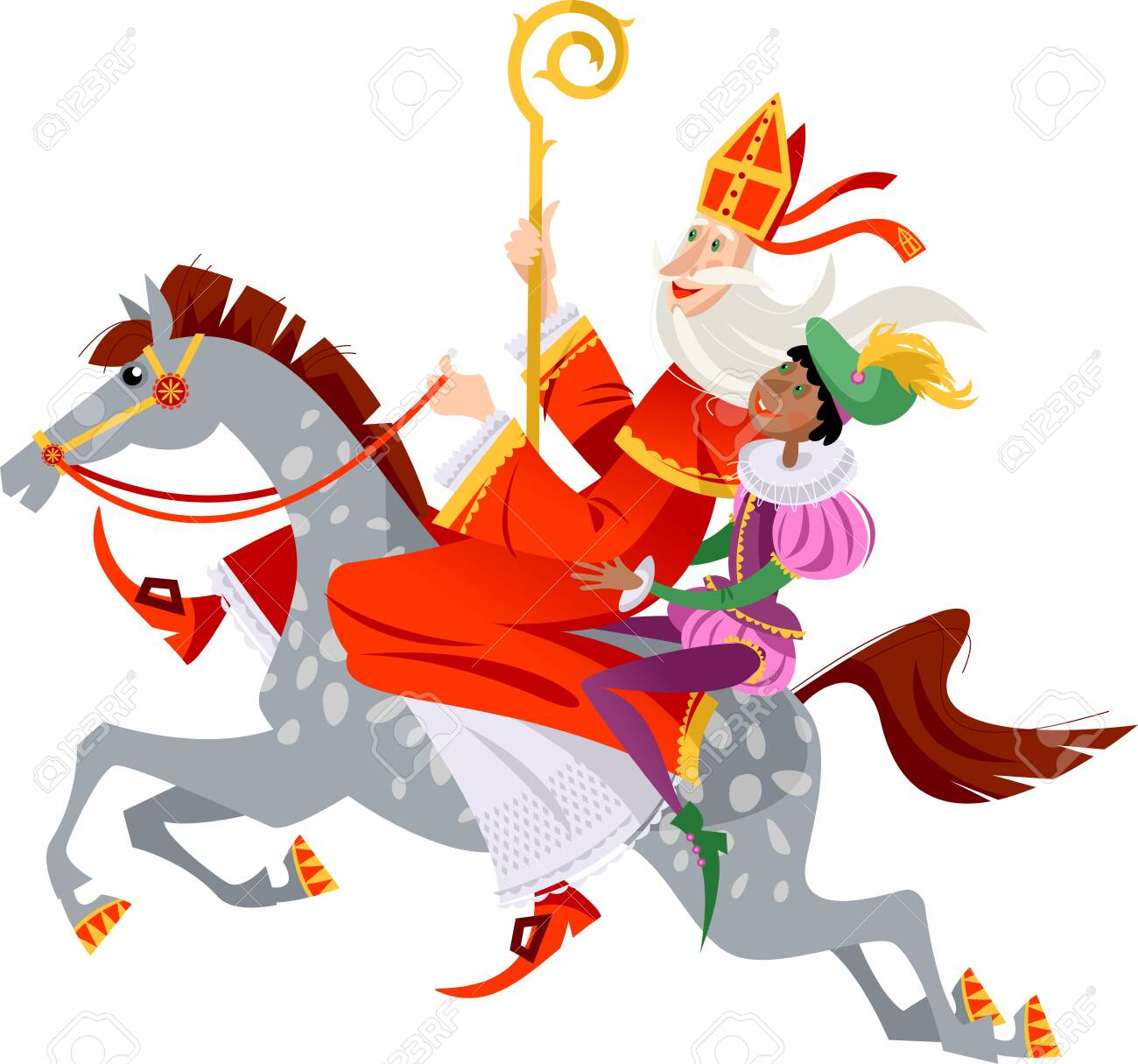 Santa Claus (Sinterklaas) and his helper ride a horse to deliver gifts. Christmas in Holland. Vector illustration. - 131973796