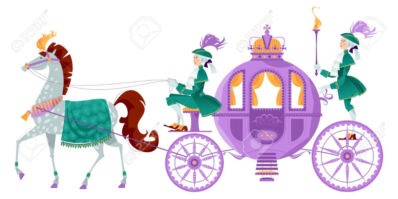 Princess Fantasy Carriage With Coachman And A Horse Vector Illustration Royalty Free Cliparts Vectors And Stock Illustration Image 147585282
