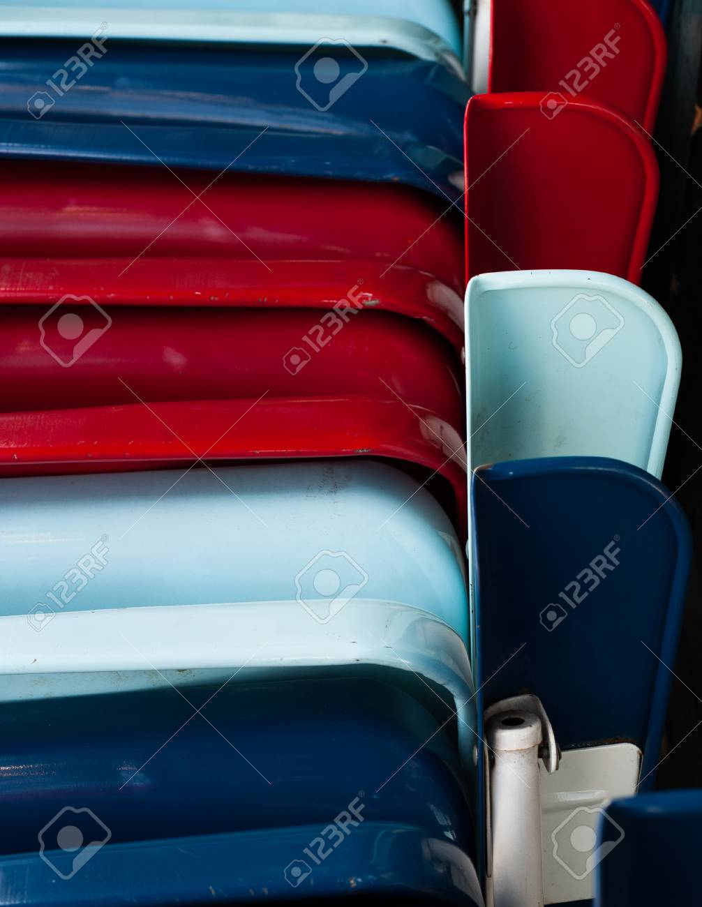 Terrific Closeup Shot Of A Stack Of Battered Folding Metal Chairs Painted Short Links Chair Design For Home Short Linksinfo