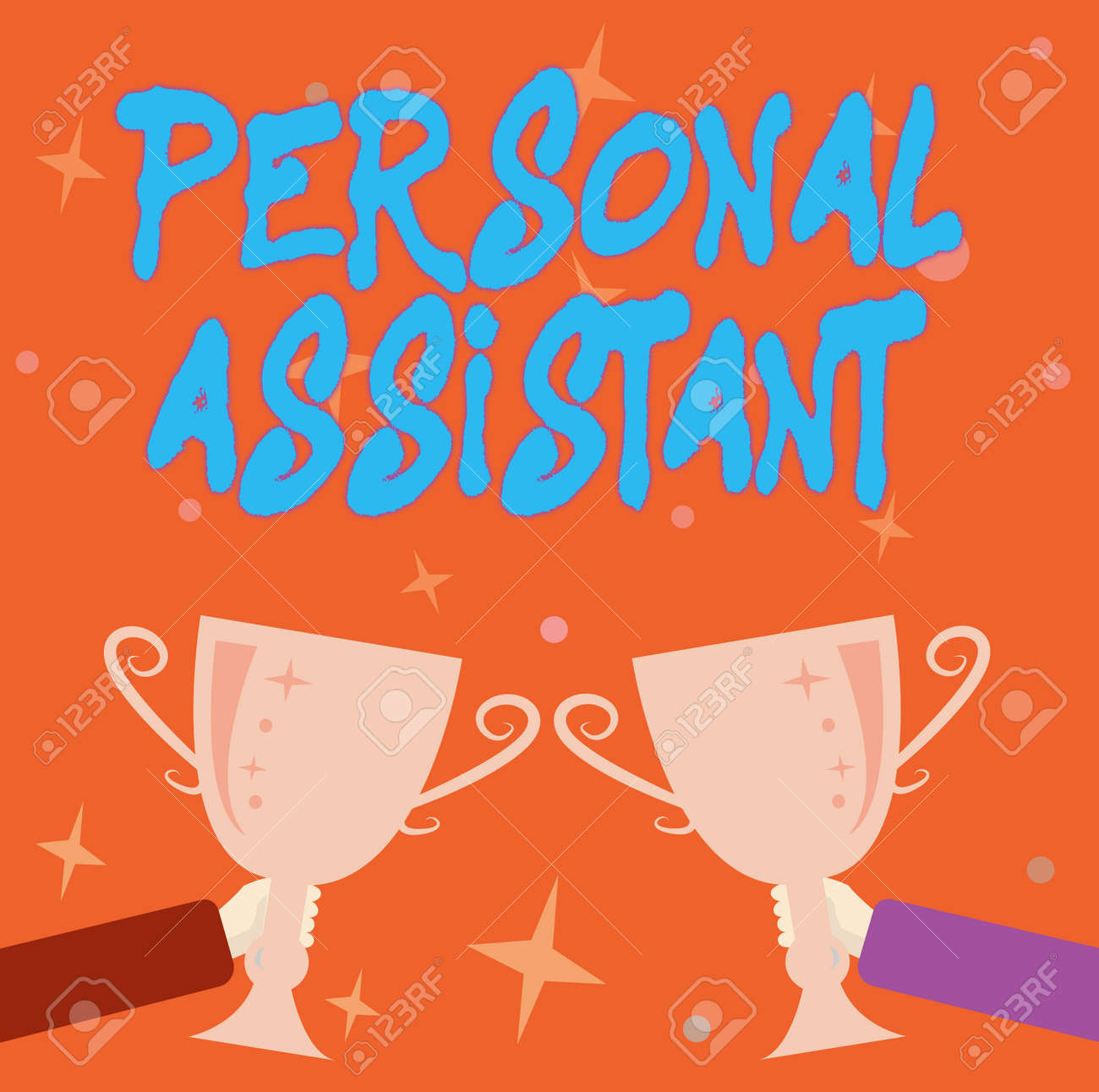 Text showing inspiration Personal Assistant. Business idea administrative assistant working exclusively for a person Abstract Victory Reward Ceremony, Celebrating New Winner Concept - 172085947