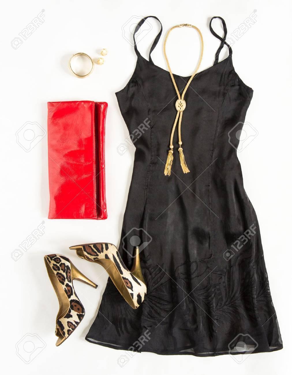 Weihnachten Party-Outfit. Cocktailkleid-Outfit, Nacht Blick Auf ...