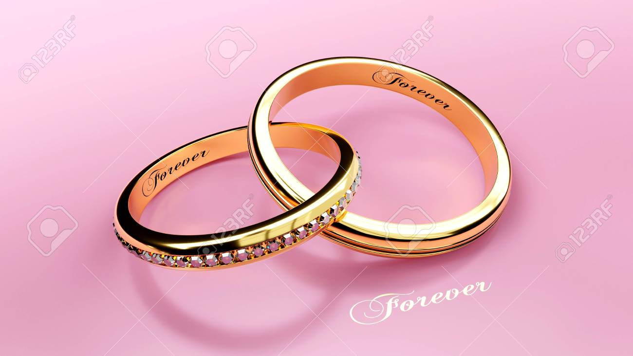 Joined Golden Wedding Rings With Carved Love Words, 3d Illustration ...