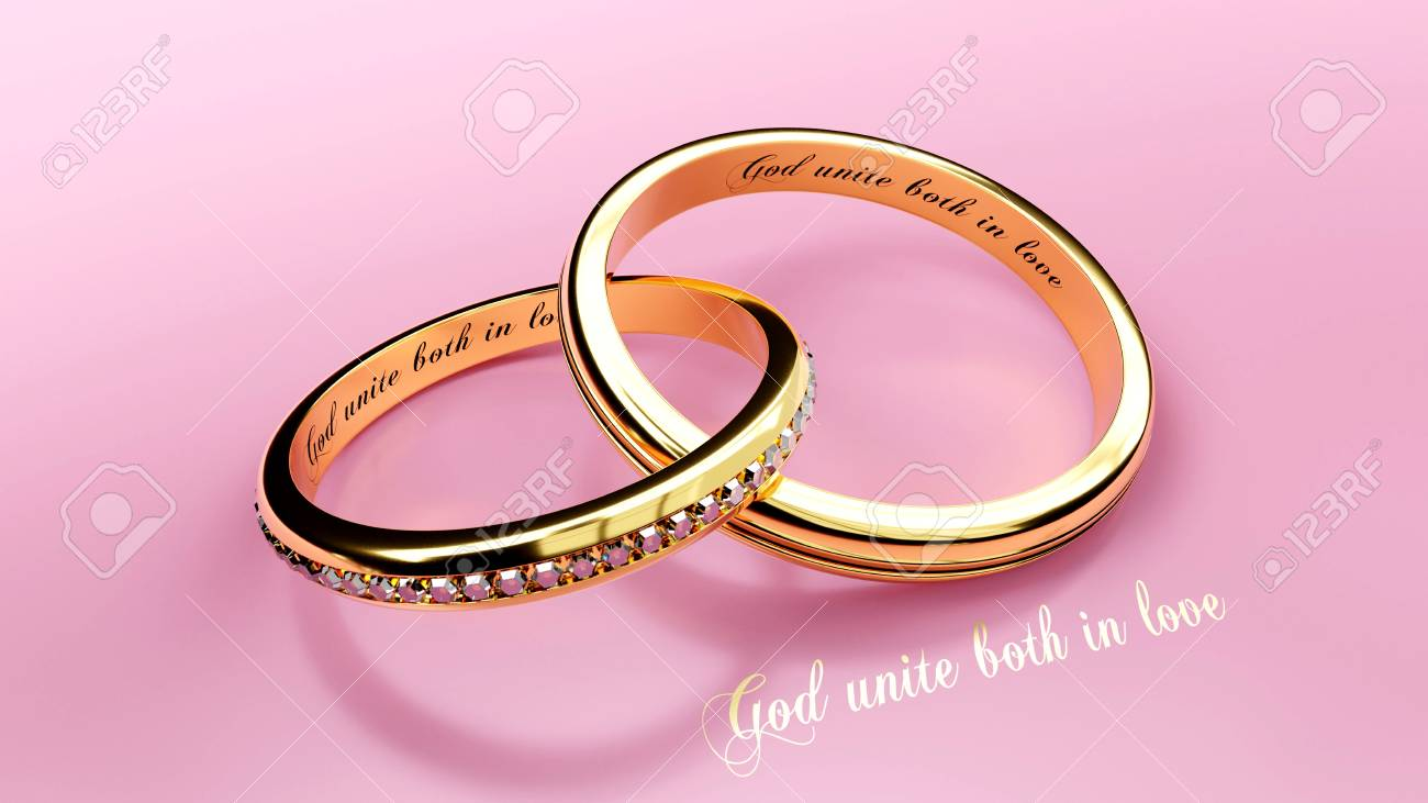 Engraved Words On Two Joined Golden Wedding Rings That Symbolize ...