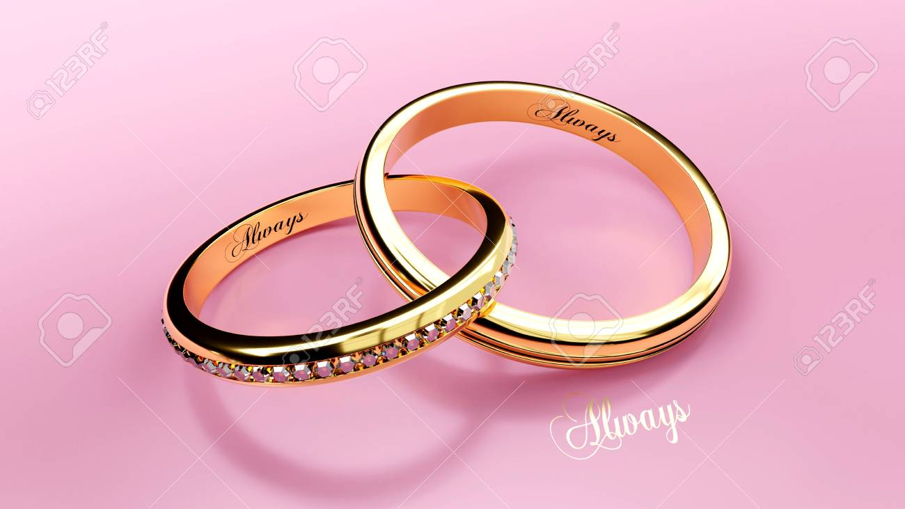 Golden Wedding Rings With Engraved Words, Part Of A Wedding Rings ...