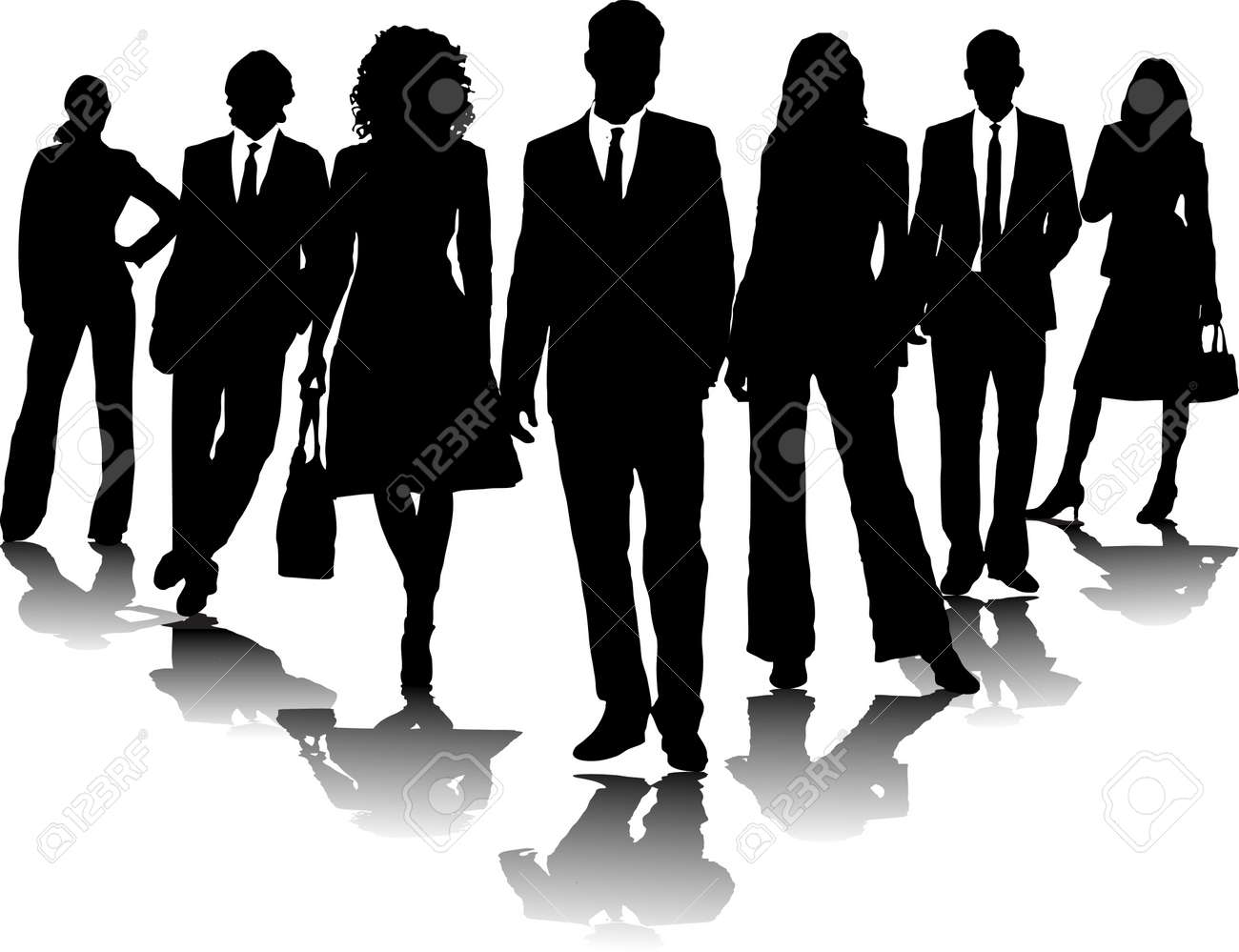 7 office people in black and white in a arrow formation Stock Photo - 782260