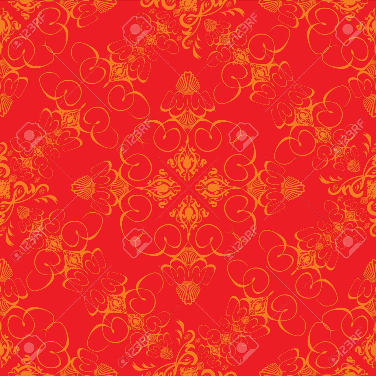 An Abstract Wallpaper Design Done In The Old Fashioned Style Red And Orange Stock Photo