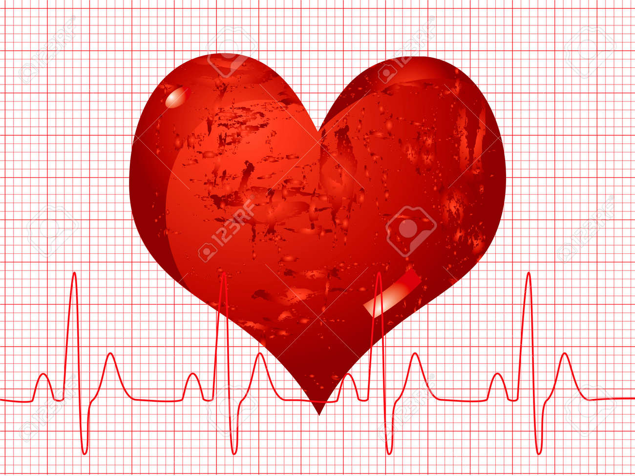Illustration of a medical background showing a heart beat over an ecg Stock Illustration - 1282638