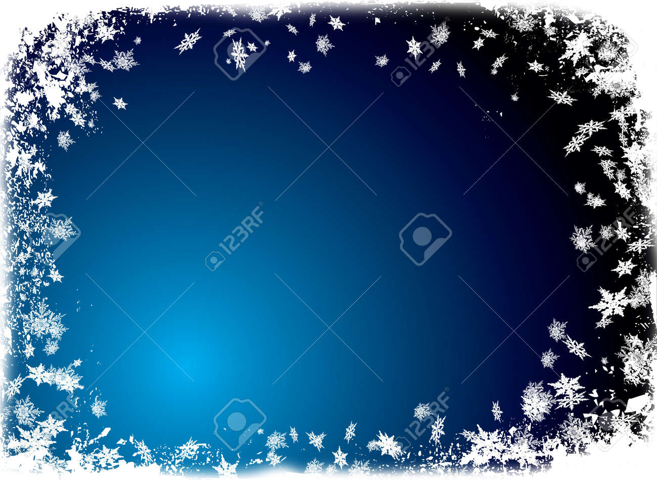 christmas border theme with white snowflake and a ice blue