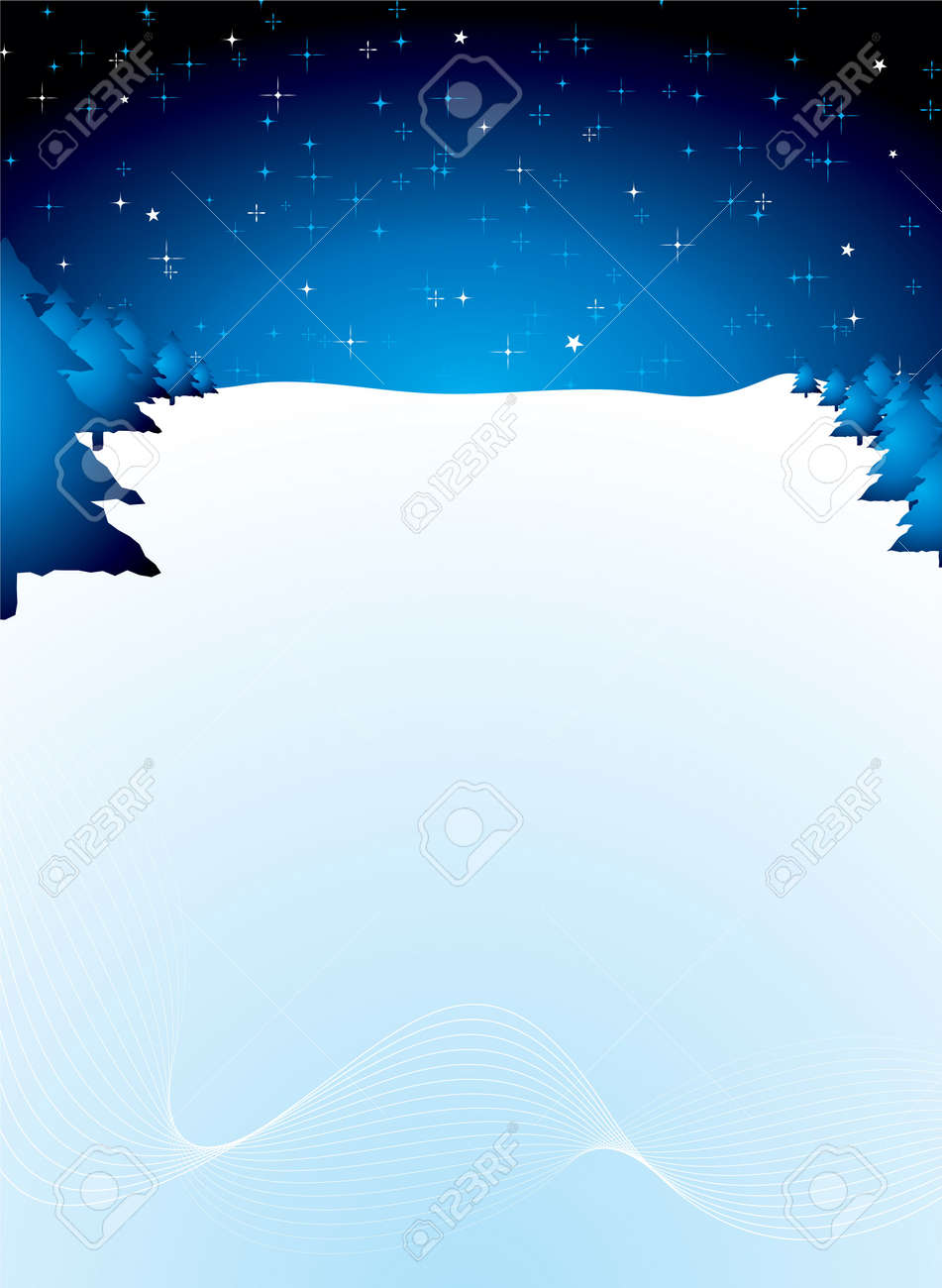 xmas background scene in blue with copy space and snow drifts Stock Photo - 2104543