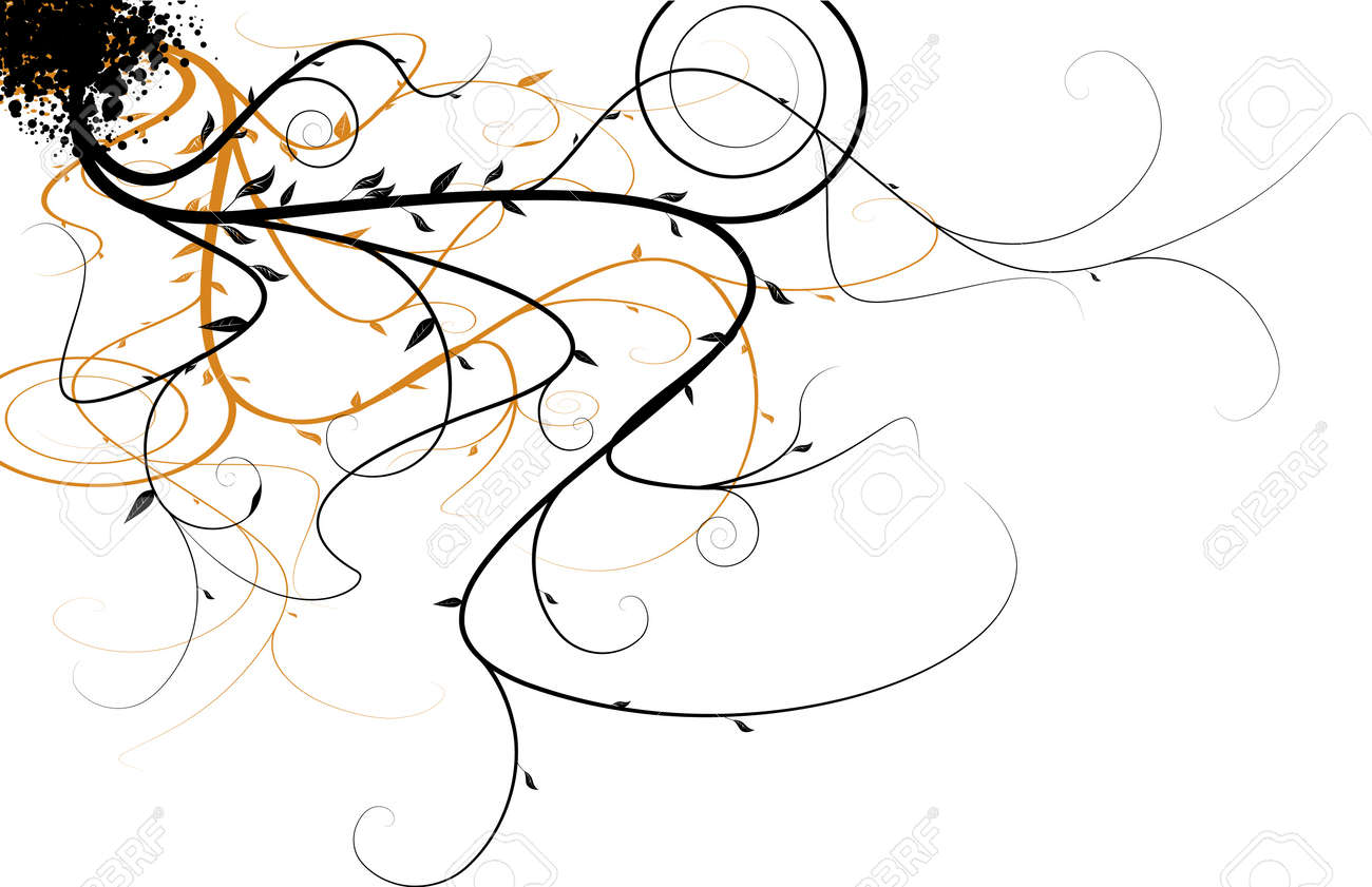 Black and orange flowing floral design that would make an ideal background Stock Vector - 2491059