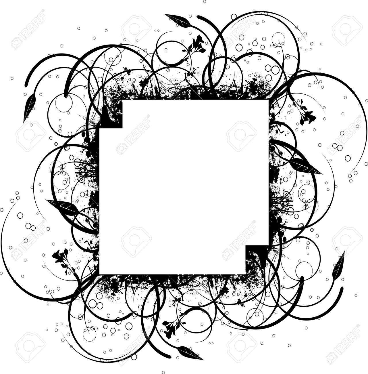 Abstract floral ink splat border design in black and white Stock Vector - 2531031