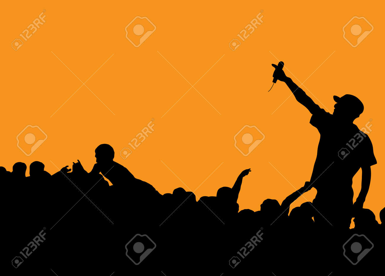 Pics photos rock concert background - Rock Concert With Singer Talking To The Crowd On An Orange Background Stock Vector 2570715