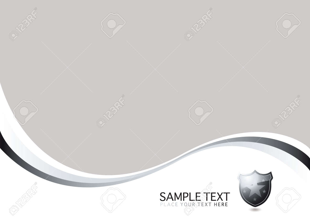 Silver and white background with copy space and a shield Stock Vector - 3030493