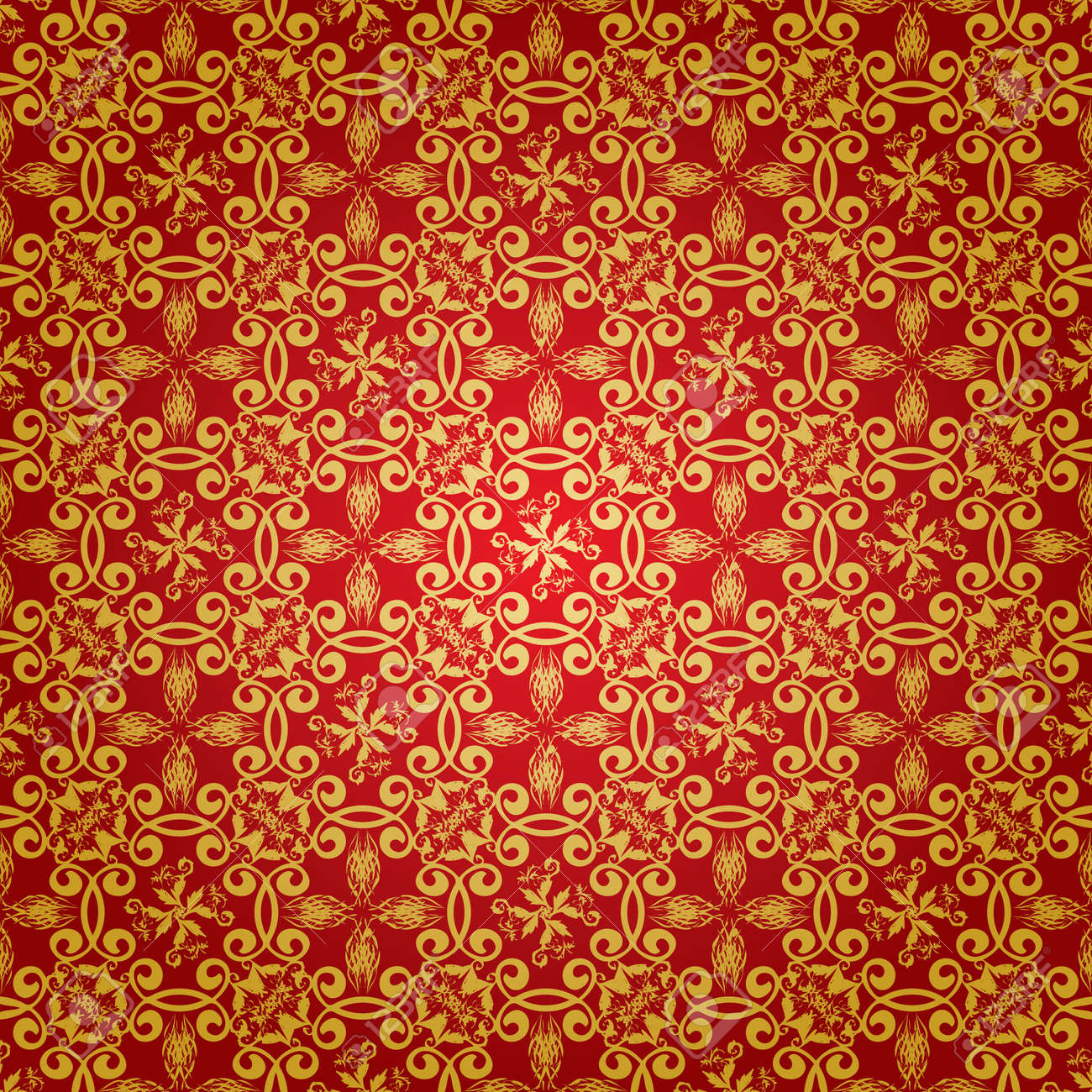 Wallpaper design in red and gold that seamlessly repeats Stock Vector - 3278578