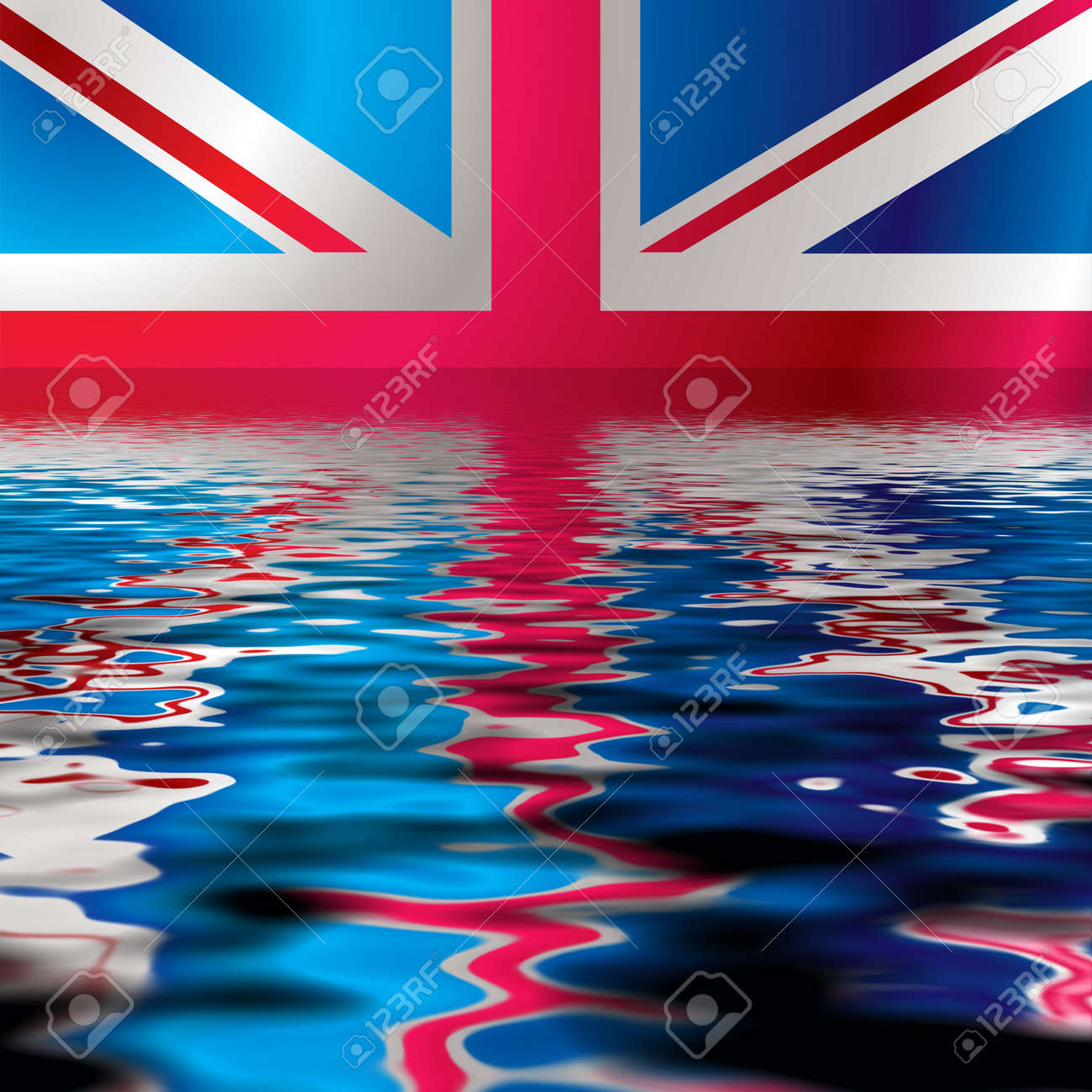British flag reflected in water with an ocean ripple Stock Photo - 3307916