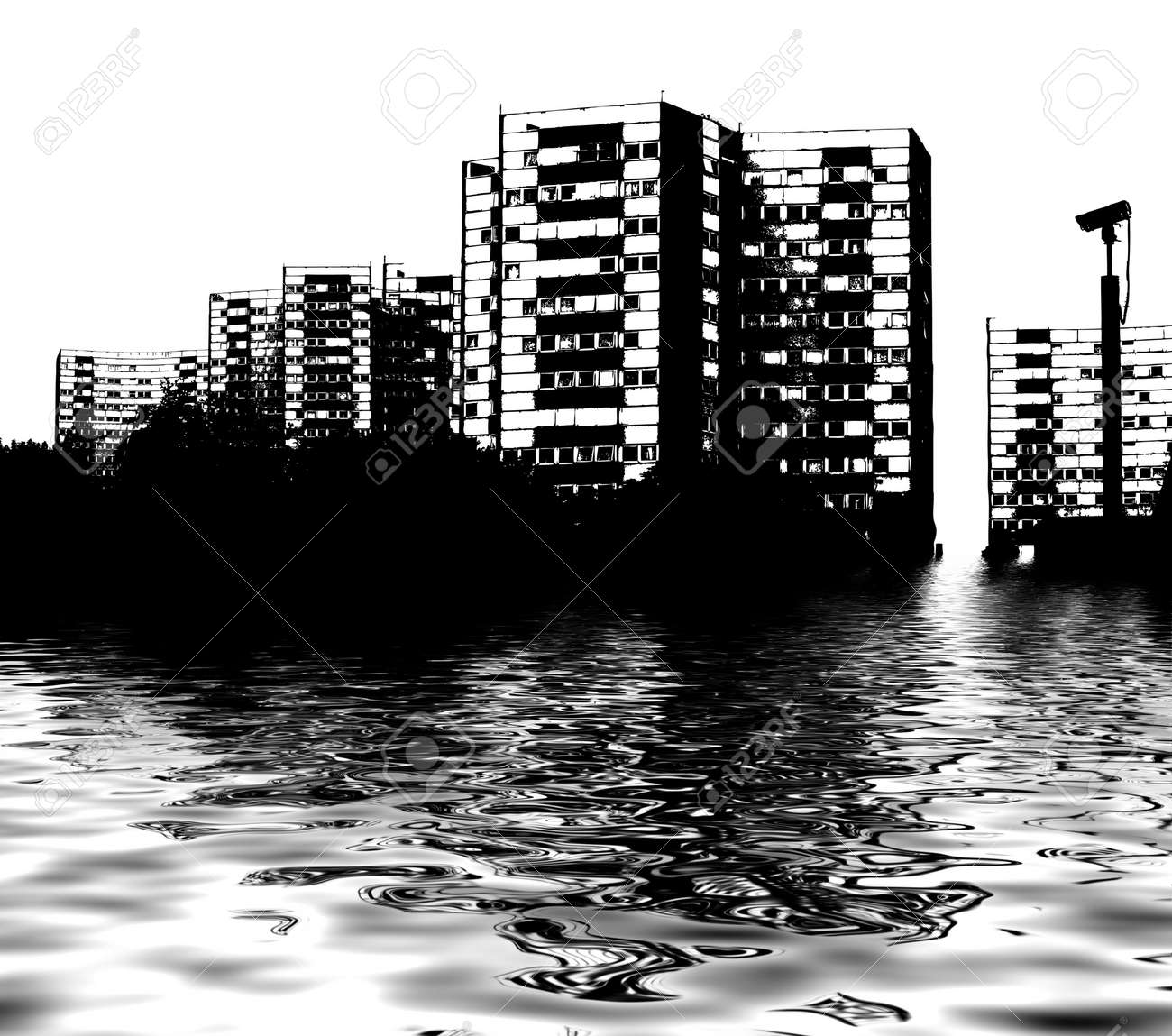 Illustrated City flood under water reflecting global warming Stock Photo - 3348484