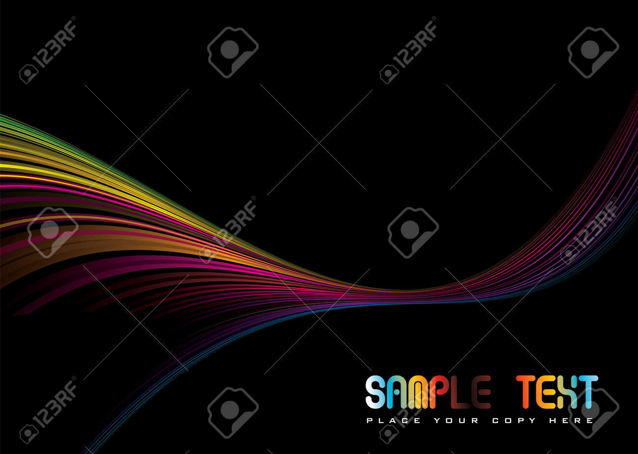 Colorful abstract illustrated rainbow background with copy space Stock Vector - 3469689