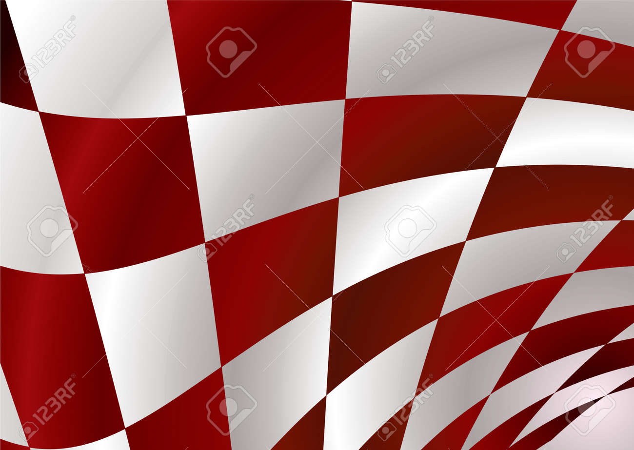 Red and white checker flag bellowing in the wind Stock Vector - 3469687