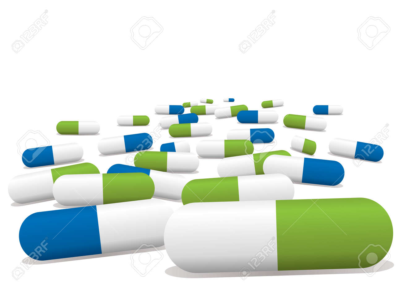 blue and green pills Stock Vector - 3531105