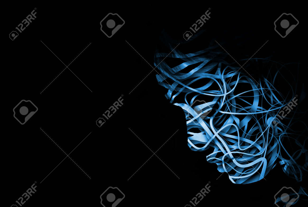 abstract face with a tangle of lines making up the outline Stock Photo - 3641302