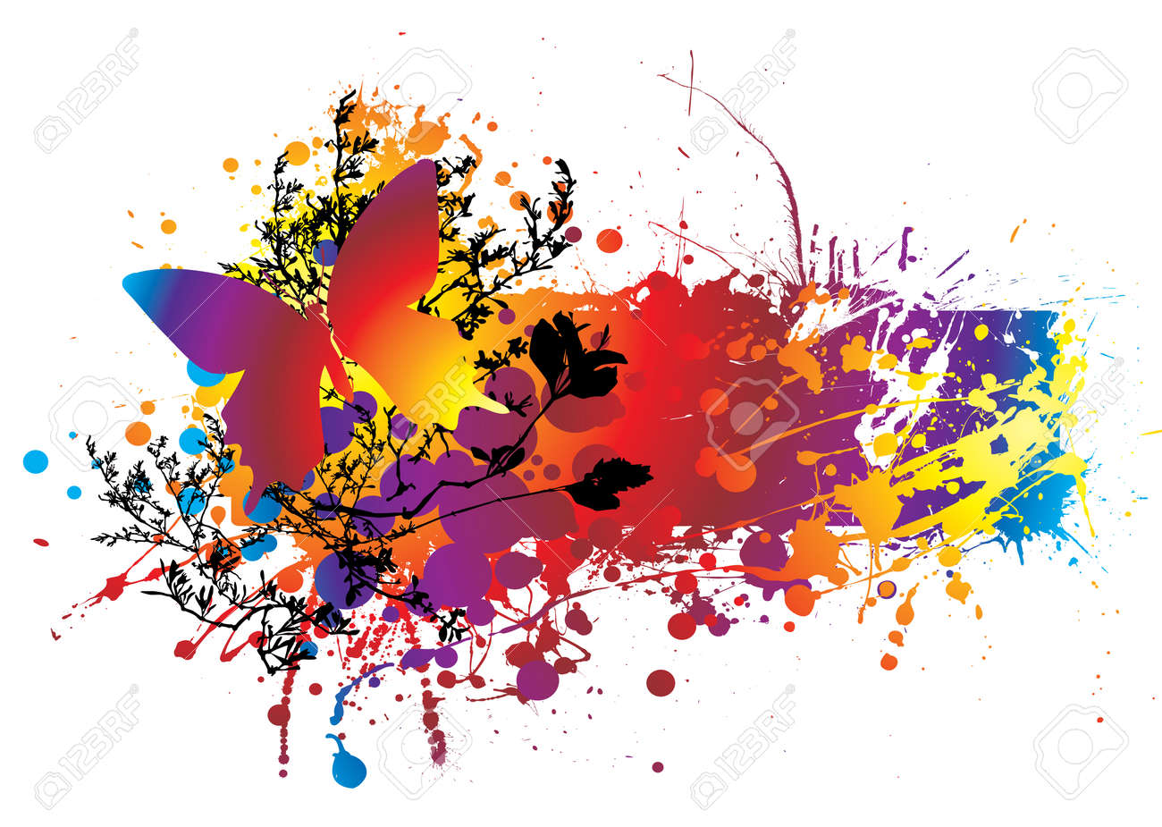 colourful ink splat natural background with room to add copy Stock Vector - 3639542