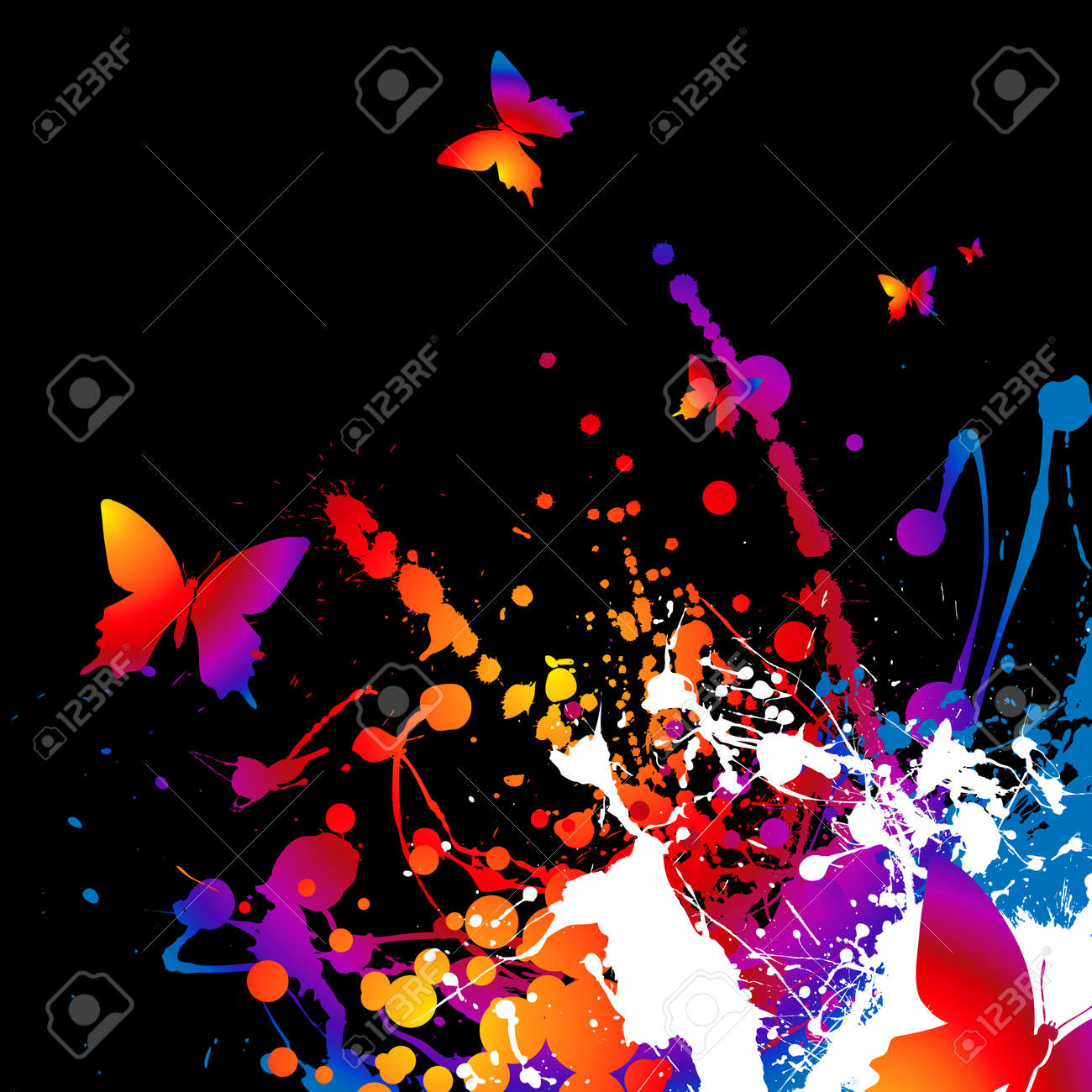 Abstract bright rainbow background with ink and butterflys Stock Vector - 3640566