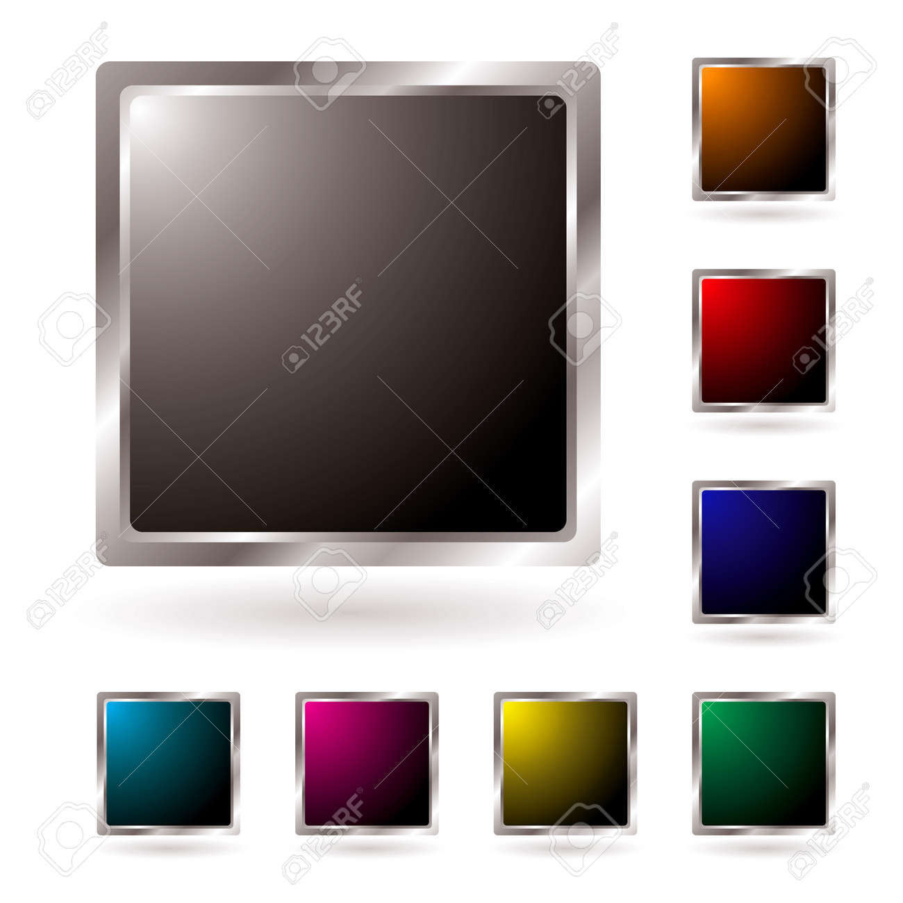 Collection of silver edged icons with colored centers and shadow Stock Vector - 4395071