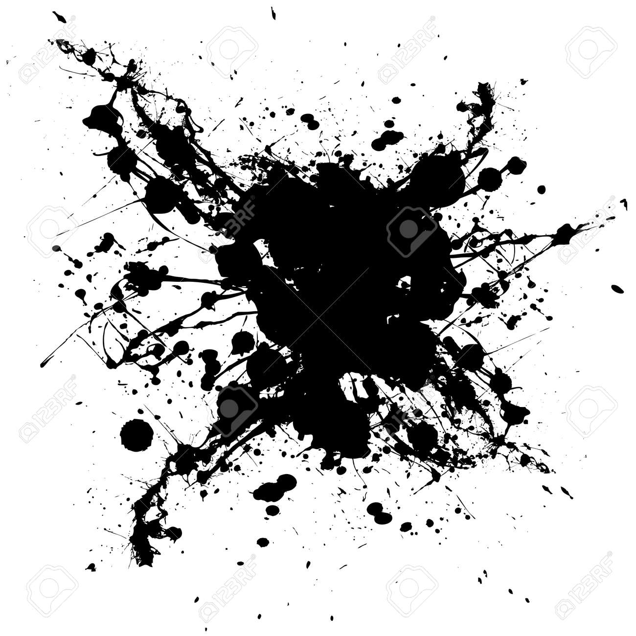 Black and white ink splat with random shapes and dirty grunge effect Stock Vector - 4590601