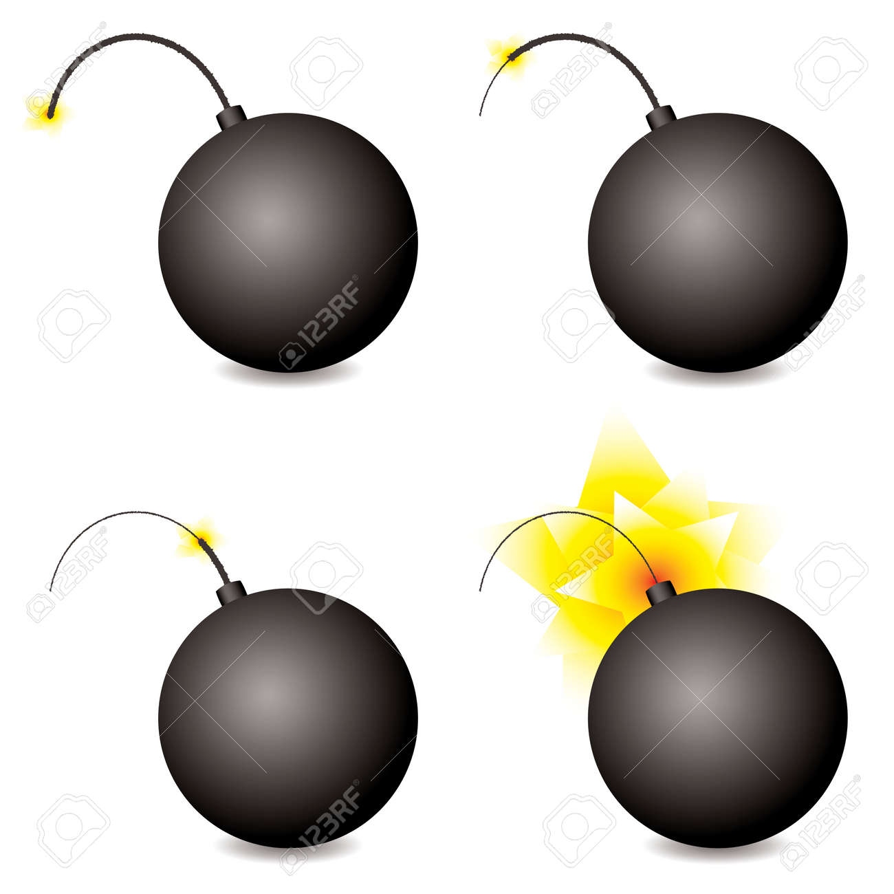 Story of a cartoon bomb at different stages with shadow Stock Vector - 4710493