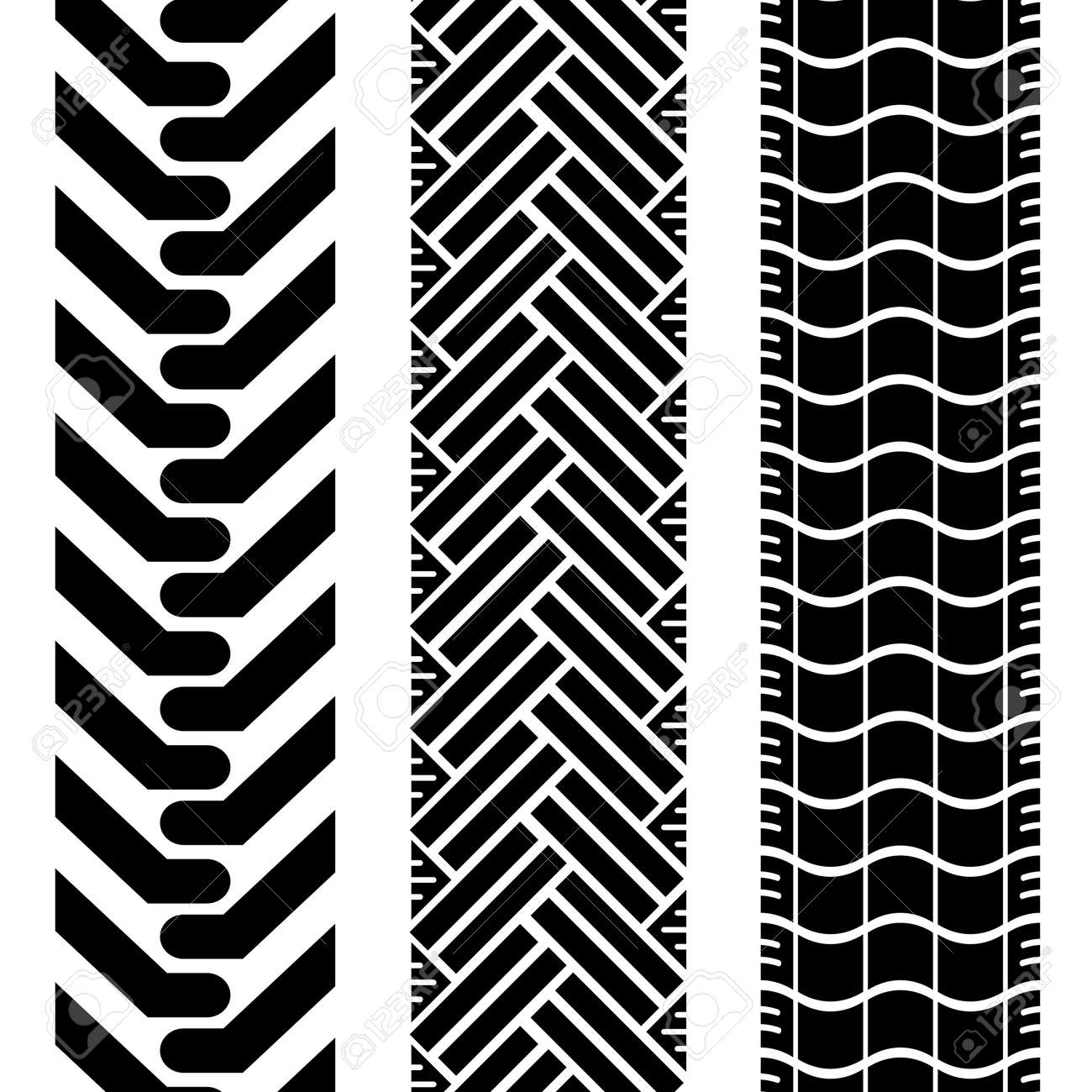 Collection of tire treads in black and white with repeat pattern Stock Vector - 4946940