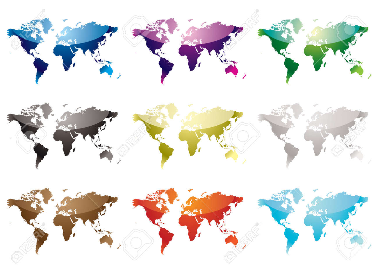 Colección de nueve mapas del mundo con variación de color y reflexión de la luz Foto de archivo - 5260453