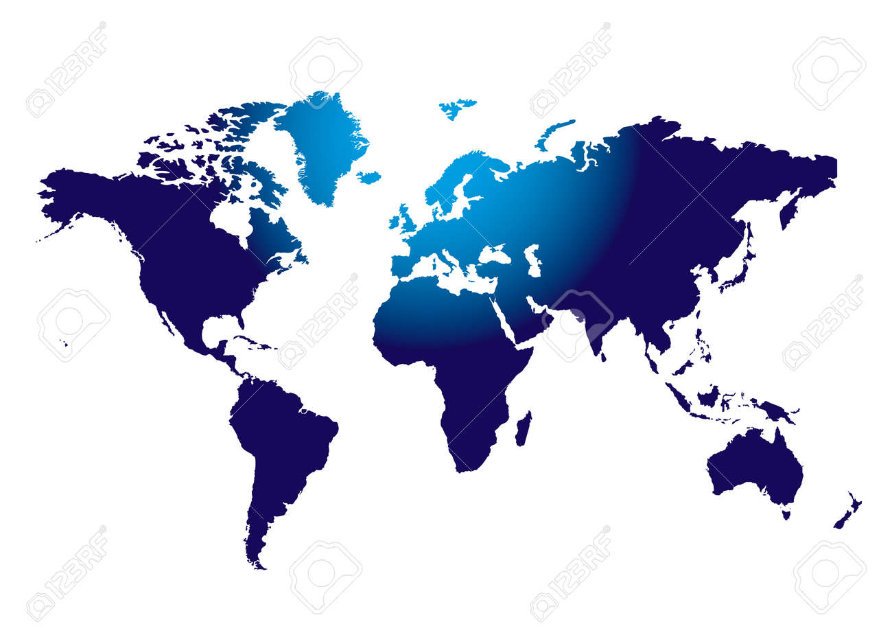 outline of the world mass in blue with light shining on the top section Stock Vector - 5603058