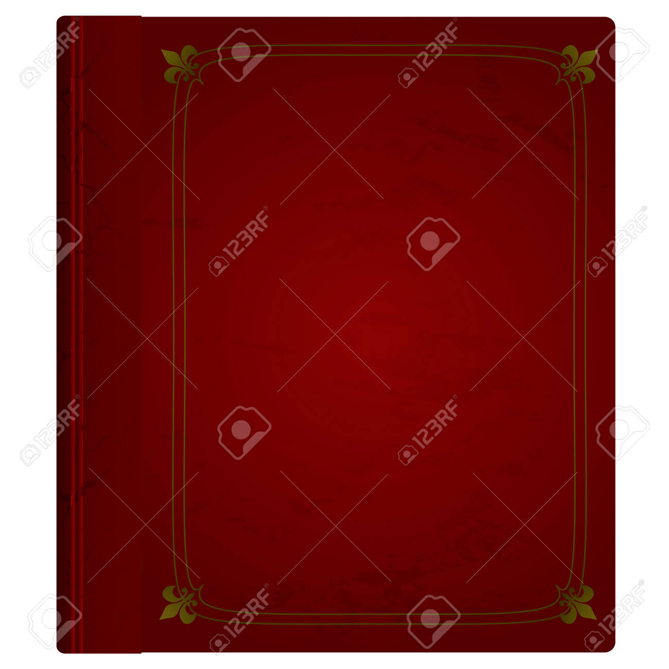 Maroon hardback book with leather cover and gold trim Stock Vector - 5772129