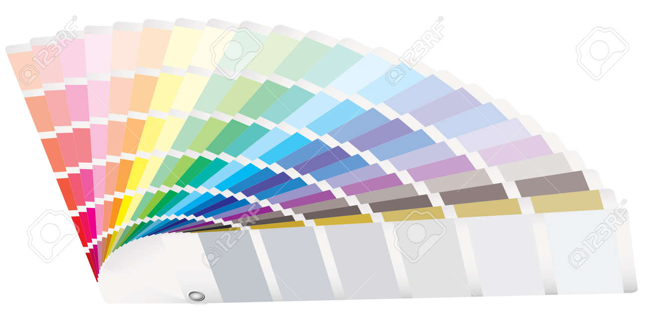 Rainbow of color swatch tabs laying on a surface Stock Vector - 5973373