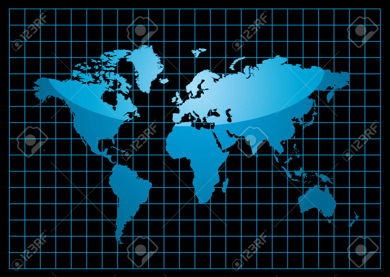 Blue world map with light reflection and grid on a black background blue world map with light reflection and grid on a black background stock vector 6013516 gumiabroncs Gallery
