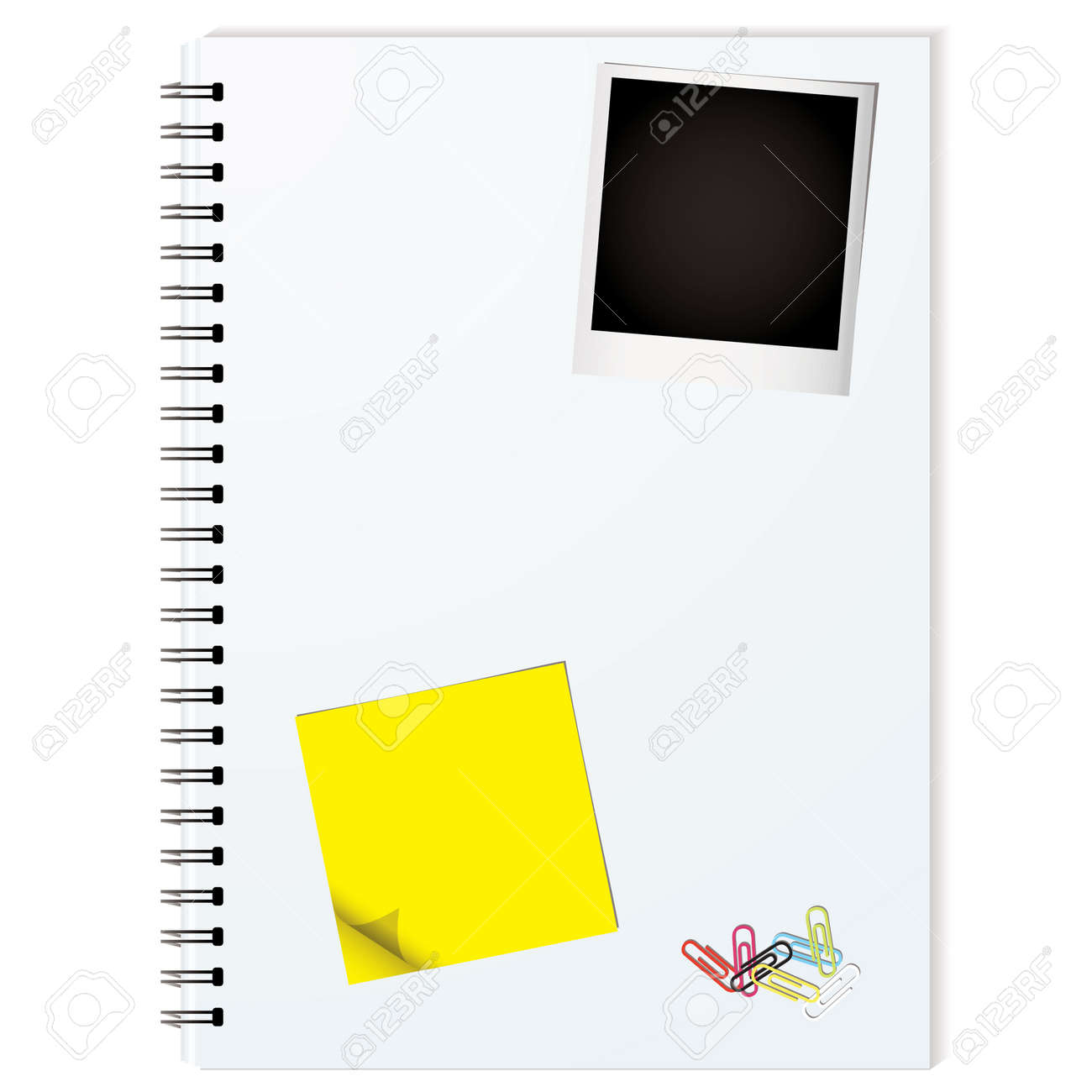 Business writing pad with instant photograph and paper clips Stock Vector - 6052168