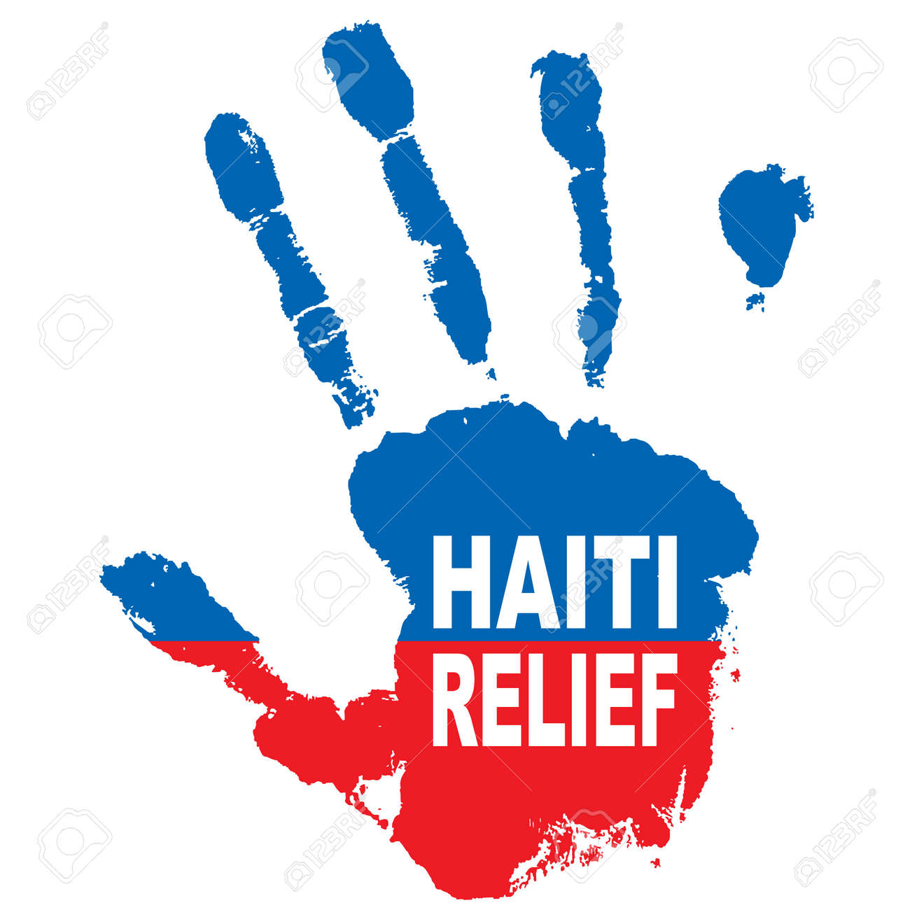 Grunge ink hand with the colours of haiti flag and relief message Stock Vector - 6263785
