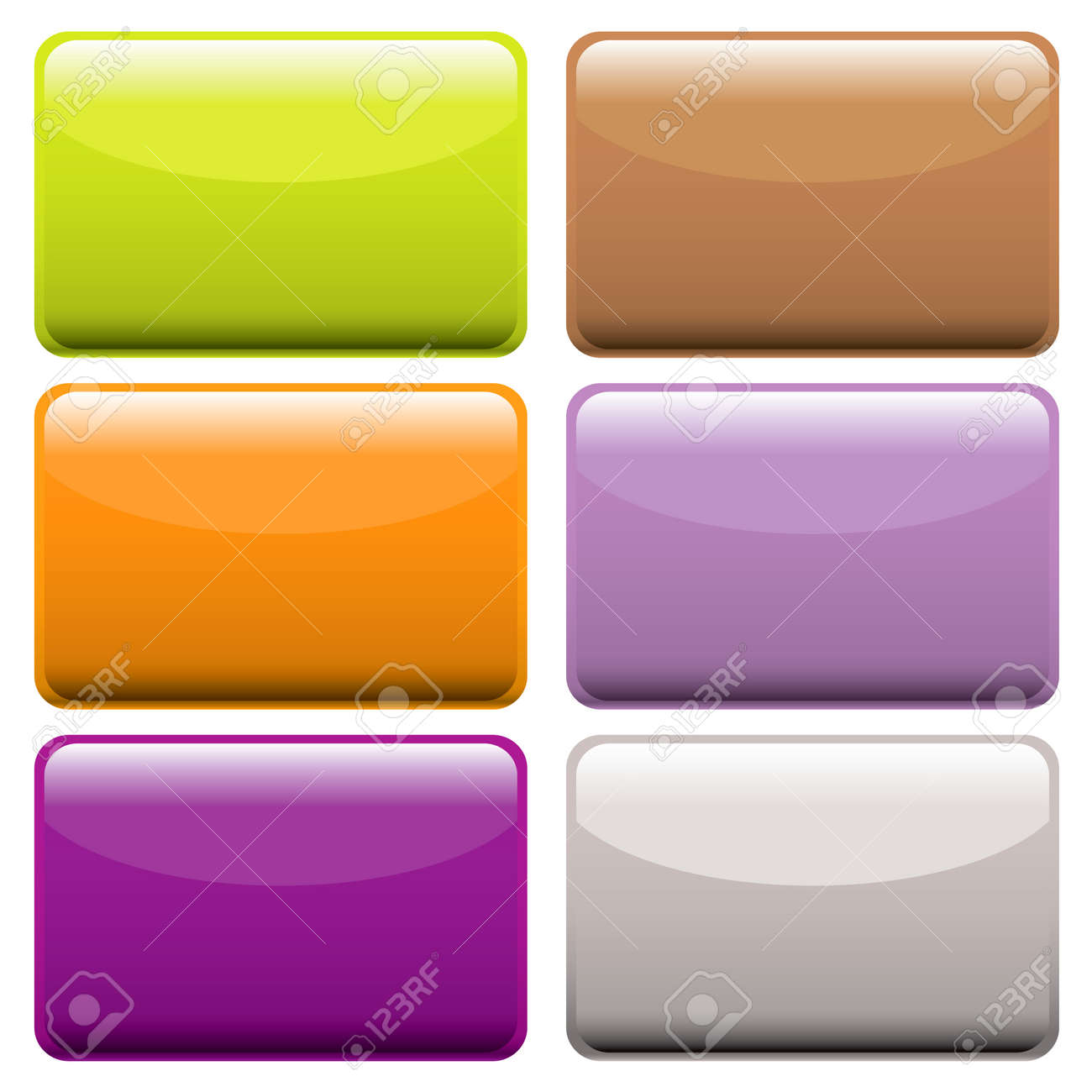 Collection of brightly colored web buttons with room to add text or icons Stock Vector - 6312941