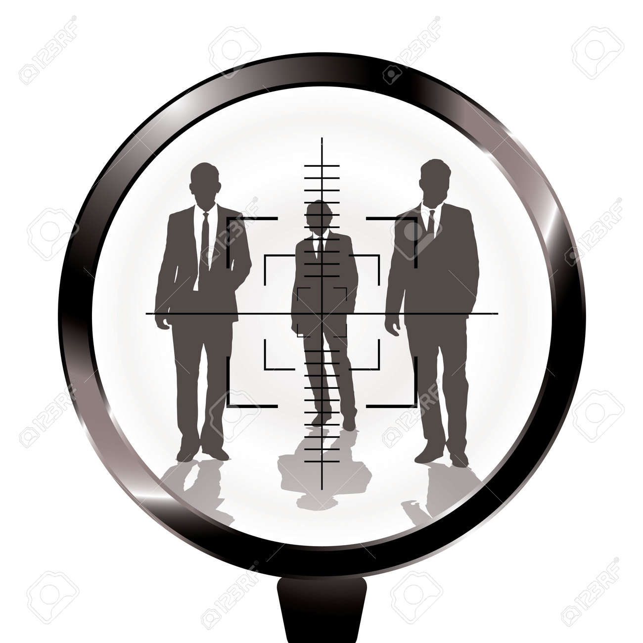 Three businessmen in a gun sight with shadow effect Stock Photo - 6416340