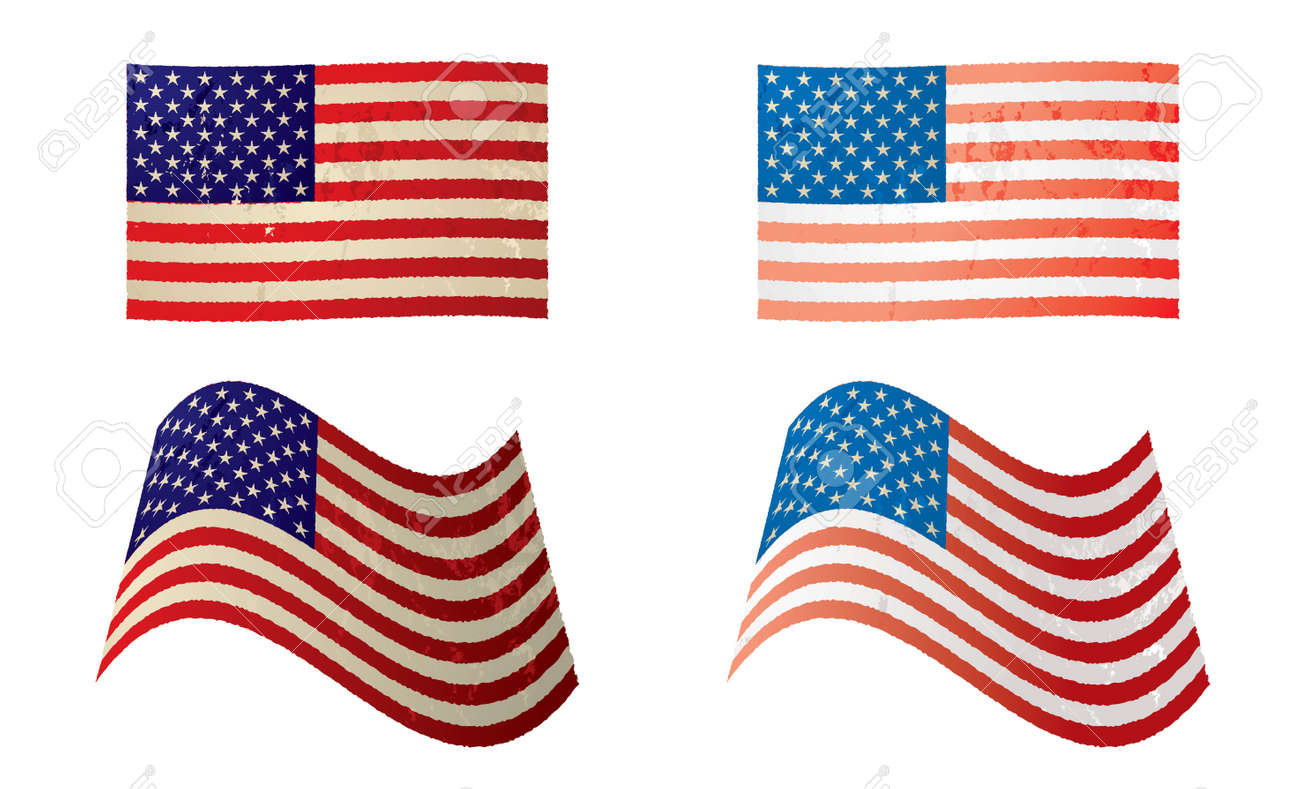 Two Old Grunge American Flags With Stars And Stripes In Red White.. Stock  Photo, Picture And Royalty Free Image. Image 6460993.