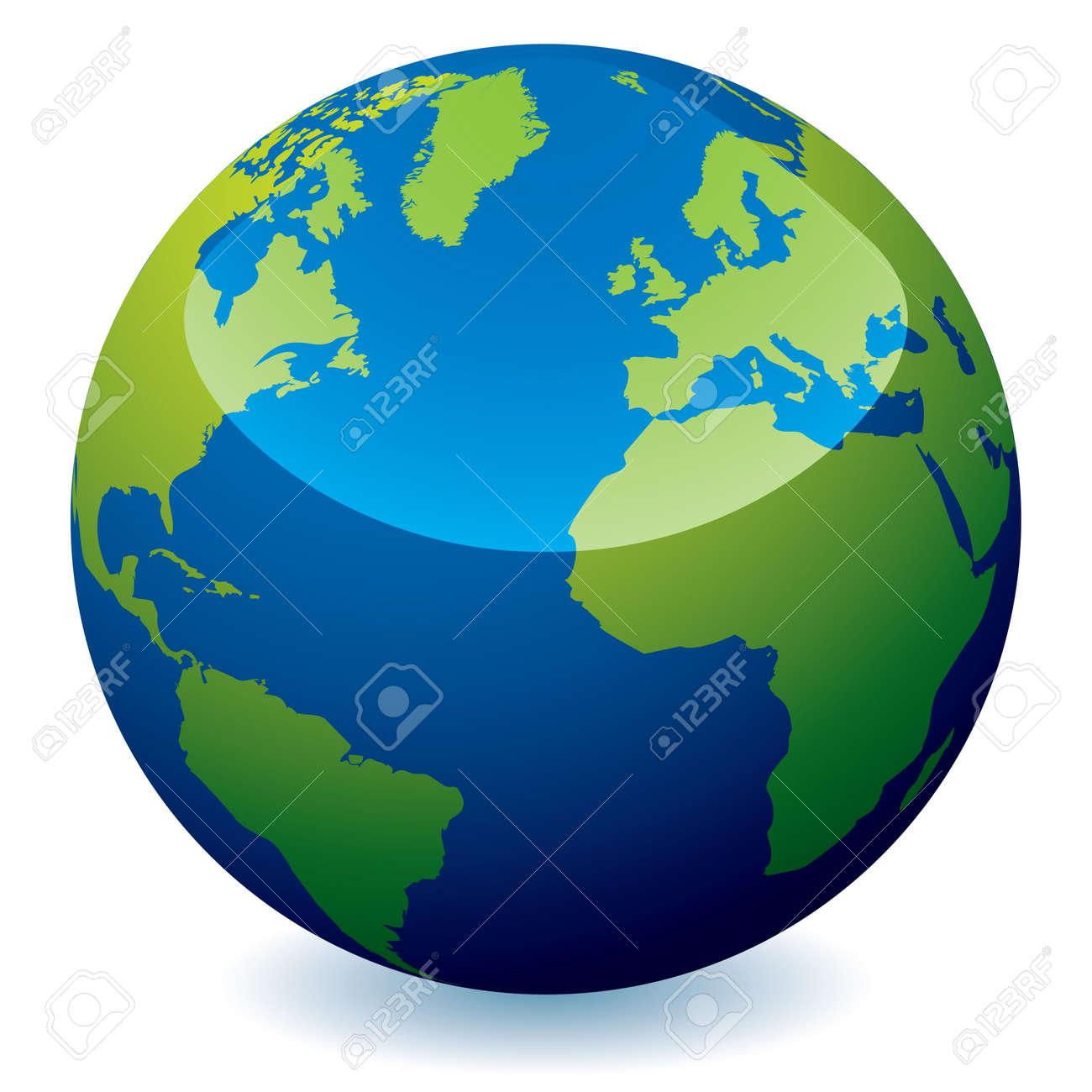 Icono De Tierra Del Mundo Real Con Los Océanos Azules Y Tierra Verde Con Sombra