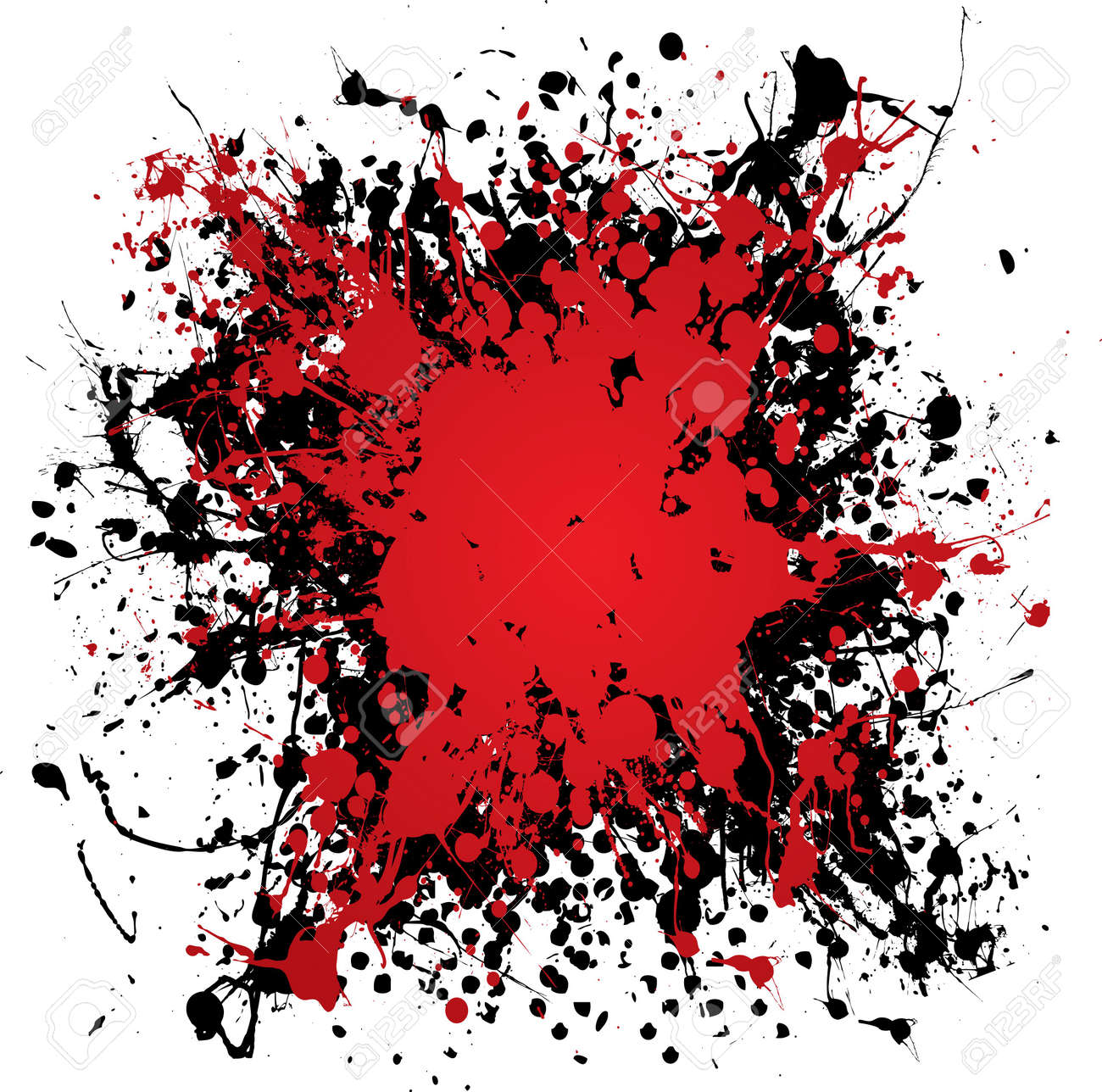 Blood red ink splat with black paint and grunge effect