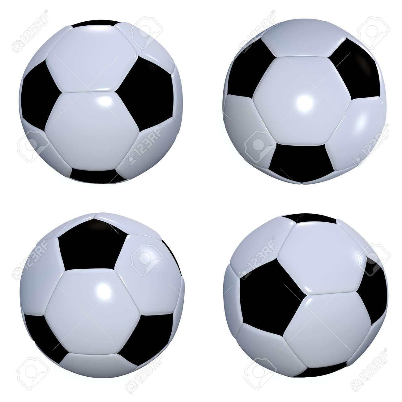 Colección de cuatro pelotas de fútbol blancos y negro o pelotas de fútbol  Foto de archivo 2798e37f48c4c