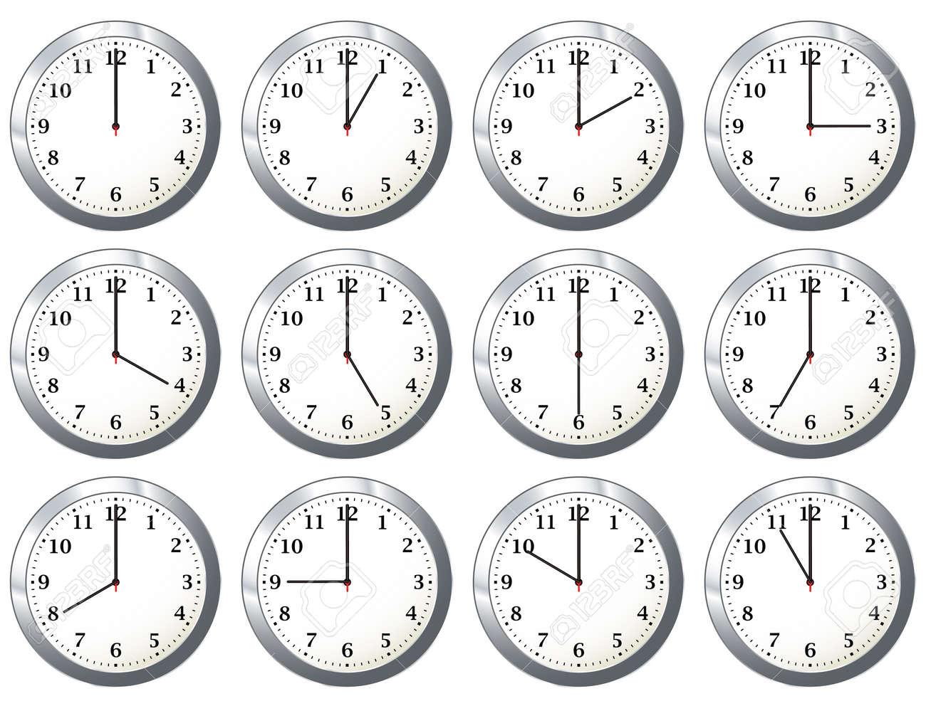 Foto De Archivo Variaciones Con La Manecilla De Las Horas De Tiempo De Reloj De Pared De Oficina Con Dias Completos