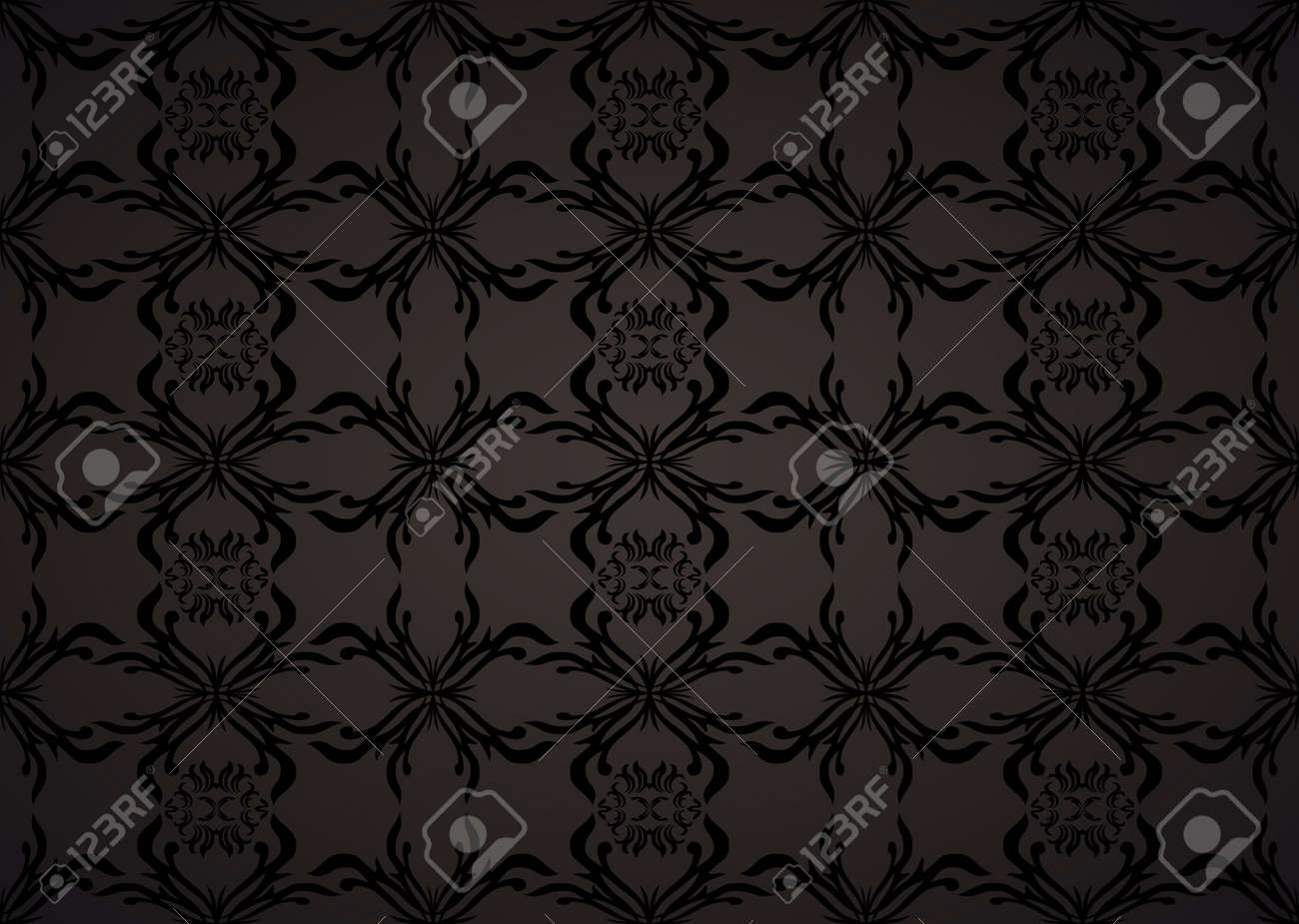 Gothic Seamless Background Wallpaper In Balck And Grey With Floral Theme Stock Photo