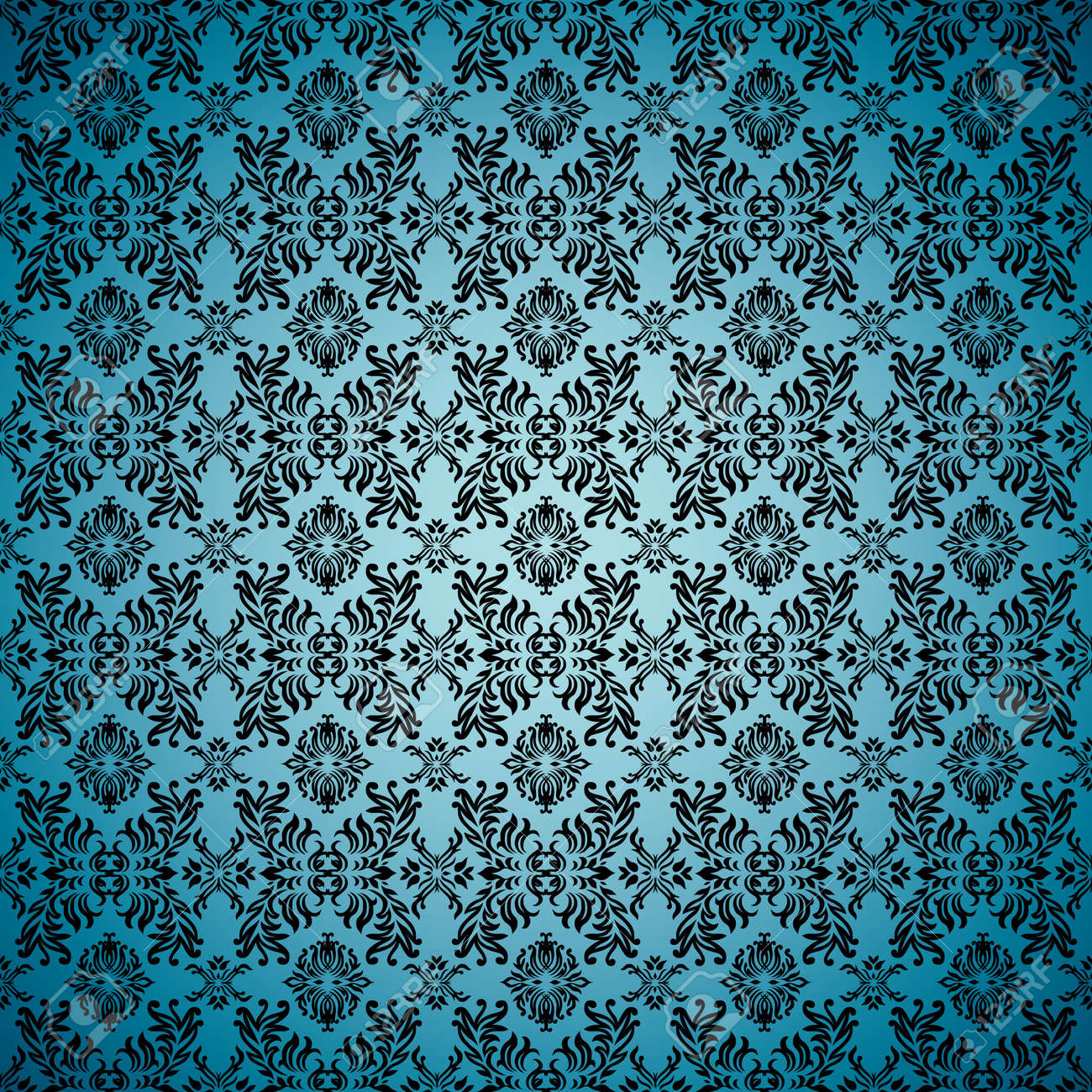 Blue Seamless Wallpaper Background With Tile Gothic Pattern Stock