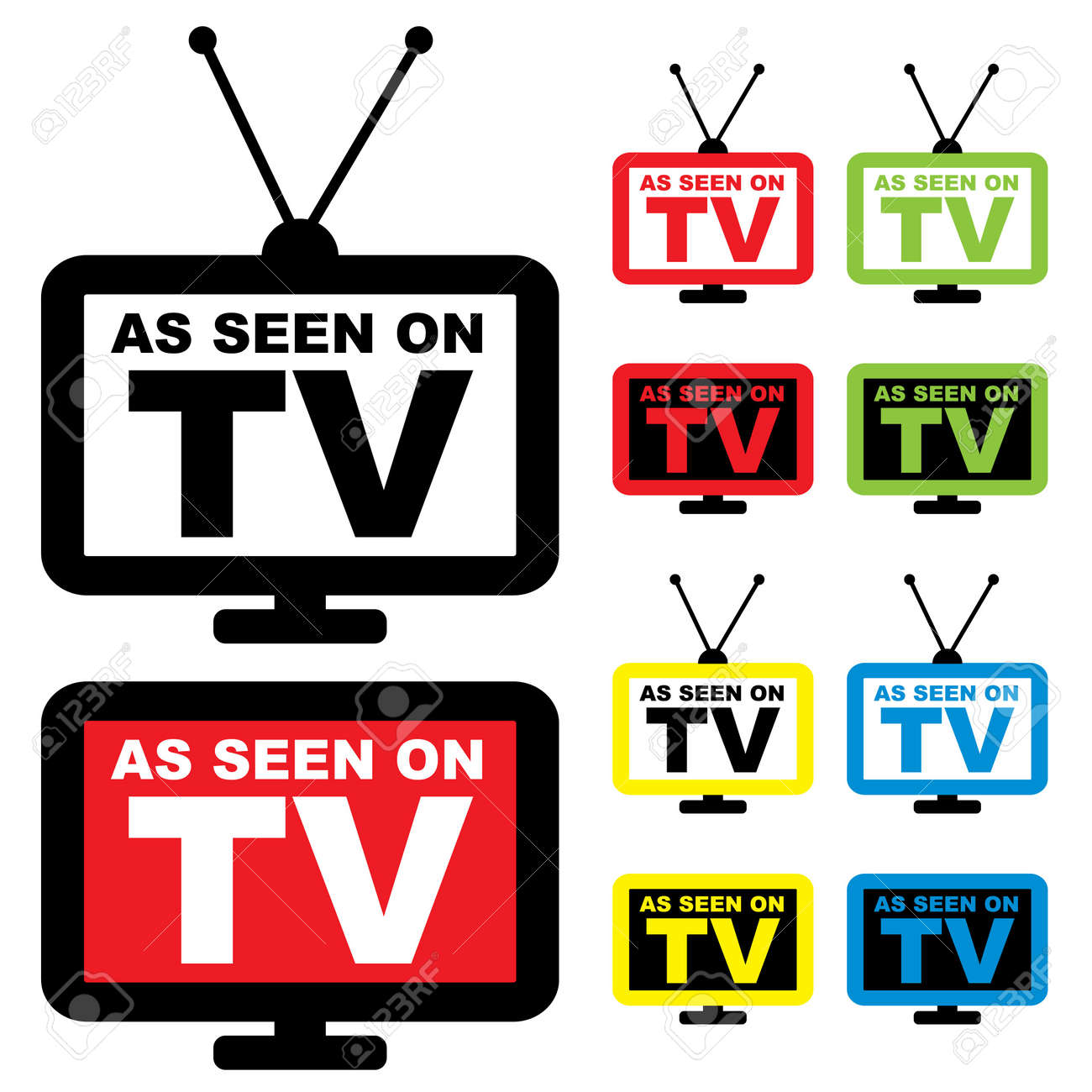 Collection of as seen on TV icon with television aerial Stock Photo - 7223420