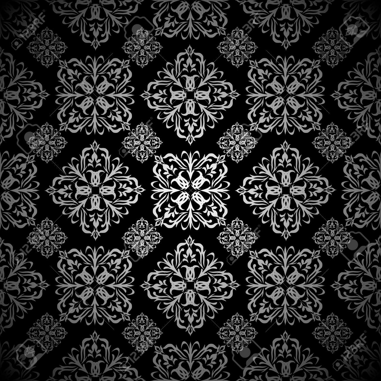 Silver and black seamless tile background wallpaper pattern Stock Photo - 7223443