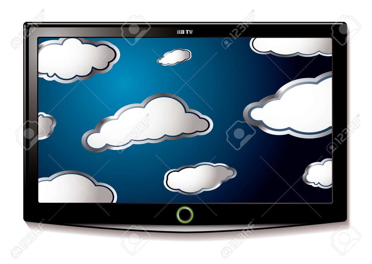 Modern LCD television with flat screen and blue sky with clouds Stock Photo - 7223419