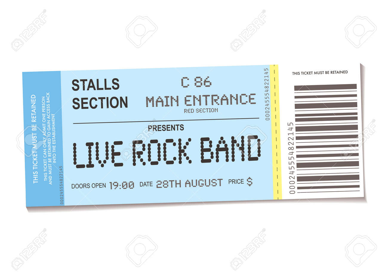 sample concert ticket with realistic look and date information - 7331383